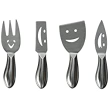 Prodyne Stainless Steel Cheese Knives, Happy Faces, Set of 4