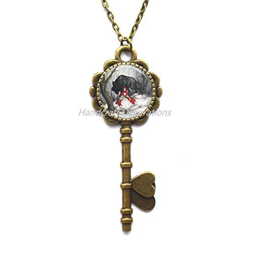 Charm Yin-Yang Tree of Life Key Pendant Astrology Key Necklace Jewelery Charm Key Pendant for Him or (Scene Diamond Necklace)
