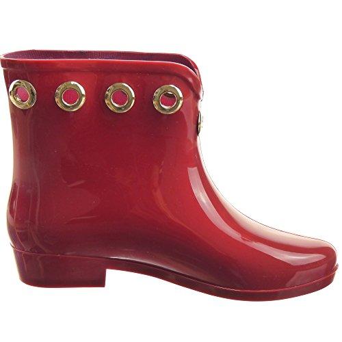 Sopily - Scarpe da Moda Stivaletti - Scarponcini Stivali pioggia donna metallico Tacco a blocco 2.5 CM - Rosso