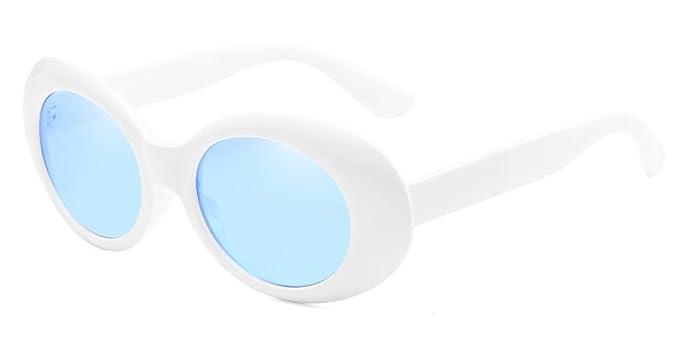 BOZEVON Rétro Lunettes de soleil ovale - UV400 Goggles Femmes   Hommes Blanc -Bleu 988d8809e10f