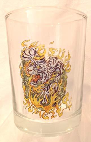 Tiger Dragon Rocks Glass, Dragon Rocks Glass, Flaming Tiger Dragon Glass ()