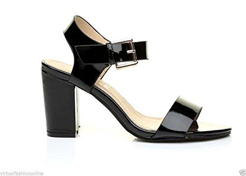 Cinturini Ladies Con Buckle Uk Peep Caviglia Block Al Alla Mid Cinturino 6 4 Black Shoes Patent Ginocchio Toe 1840 Womens Low bs 3 8 new 5 7 Heel ZxnaZPHrqw