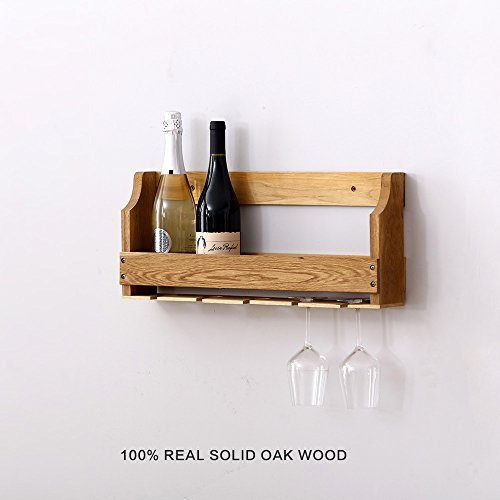 2-in-1 Wall Mounted Metal Wine Rack ,Bottle Long Stem Glass Wooden Holder Handmade Cork Storage Organization Store Red White Liquor Champagne Stemware Racks Charms For Home Décor Kitchen Bar (Small)