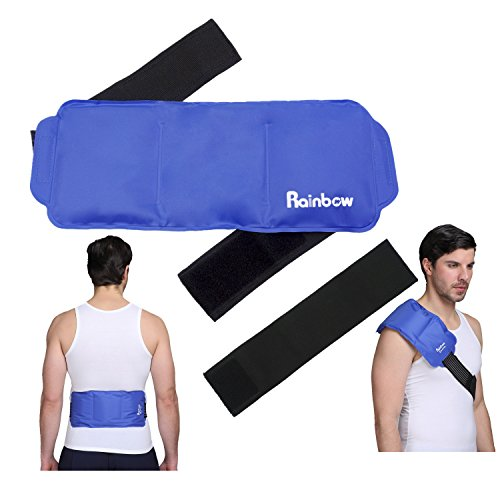 Shoulder or Back Gel Ice Pack Reusable also for Knee Waist Arm Ankle Elbow Sports Muscle Pain Relief Large Cold Hot Therapy Wrap for Injuries Medical 15