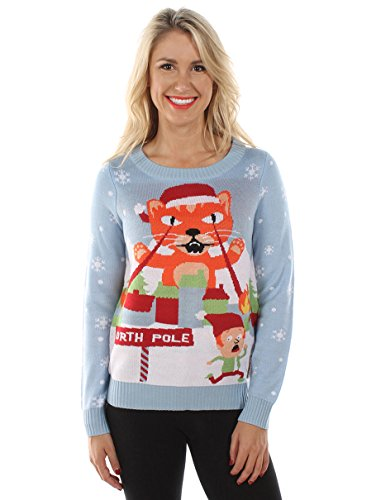 Women's Lazer Cat Christmas Sweater by Tipsy Elves