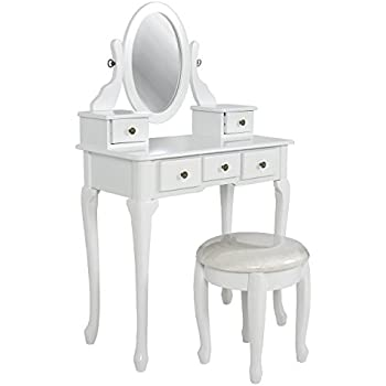 Marvelous Best Choice Products Bathroom Vanity Table Set Jewelry Makeup Desk Hair Dressing Organizer White