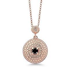 Round Black Diamond White Diamond Pendant