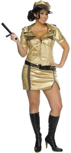 Reno 911 Costume Female (Womens Plus-Size Secret Wishes Reno 911 Full Figure Deputy Johnson Costume, Gold, One Size)