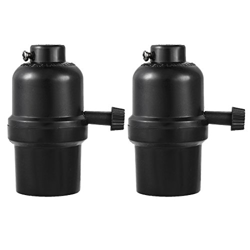 uxcell 2 Pcs 3 Way Lamp Socket Holder UL Listed E26 Type Removable Turn Knob Phenolic Black