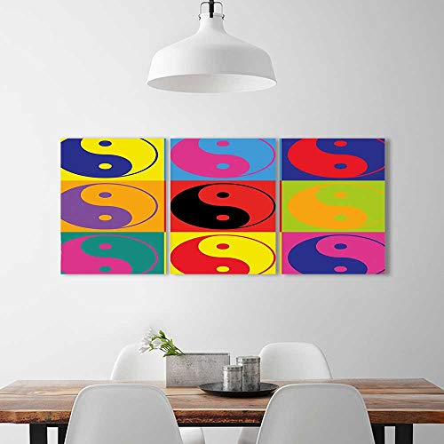 Analisahome 3 Piece Wall Art Painting Frameless Decor Pop Art Design Yin Yang Signs Hippie Style Eastern Asian Decorations Peace Posters Wall Decor Gift