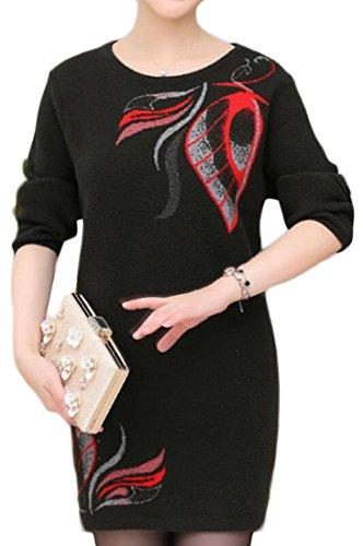 Cruiize Womens Manches Imprimé Tricot Casual Manches Longues Épaississent Chandails Robe Verte Noirâtre
