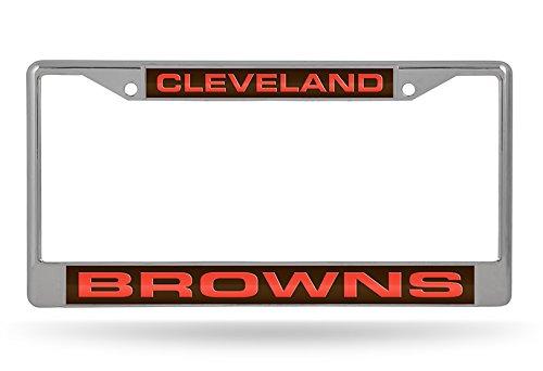 NFL Cleveland Browns Laser Cut Inlaid Standard Chrome License Plate Frame