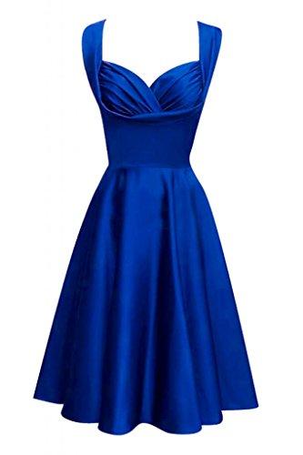 Toscana novia Chic dos-Traeger por la noche vestido de satén corto vestidos de fiesta De antiguos alumnos Azul Real