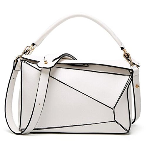 Arrival White Chic Size Bags Handbags Geometric Small Pu Lady Puzzled Leather Women Bags 1IOn7qB