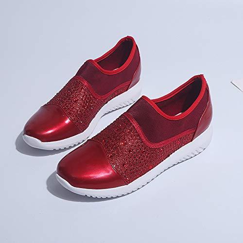 Femmes Chaussures À chaussures Mode Femme Ningsanjin Basses Baskets Sport Plat Respirant Running Casual Fond Marcher De Respirantes Rouge Nn0O8PwkX