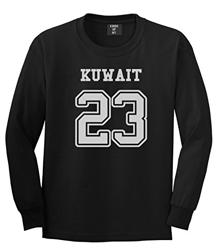 country-of-kuwait-23-team-sport-style-jersey-mens-long-sleeve-t-shirt-medium-black