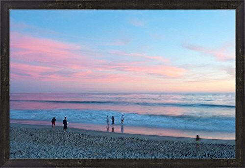 Tourists on the beach at sunset, Santa Monica, California, USA by Panoramic Images Framed Art Print Wall Picture, Espresso Brown Frame, 32 x 22 - Santa Clean Beach Is Monica