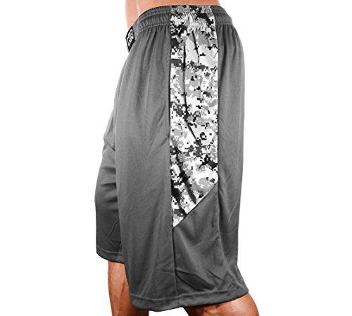 Monsta Clothing Co. Men's Poly-Dri Digital Camo Workout Shorts Poly-Dri: HRD-Lvn Classic-000: Digital Camo (Grey Digital Camo, Large)