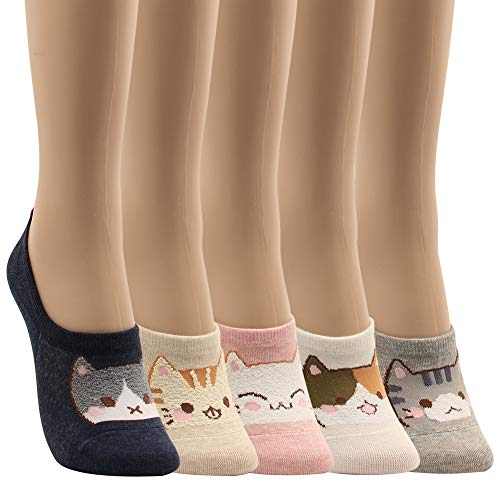 WOWFOOT Women Animal Design No-Show Casual Liner Socks Character Print Non Slip Flat Boat Line 4 Pair (5pairs-Funny Cats)