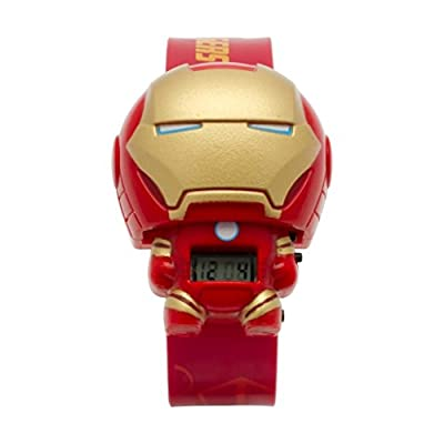 BulbBotz Marvel 2021142 Iron Man Kids Light up Watch | red/Gold | Plastic | Digital | LCD Display| boy Girl | Official from BULBBOTZ