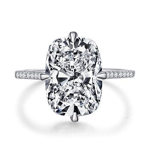 Bo.Dream Cushion Cut 6ct Cubic Zirconia CZ Engagement Ring 925 Sterling Silver Rhodium Plated (7) (2 Carat Cushion Cut Pave Engagement Ring)