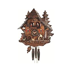 Engstler Quartz Cuckoo Clock Black Forest House with Moving Wood Chopper and Mill Wheel, with Music EN 473 QMT