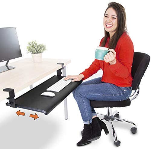 Stand Steady Easy Clamp On Keyboard Tray - Large Size - No Need to Screw into Desk! Slides Under Desk - Easy 5 Min Assembly - Great for Home or Office!