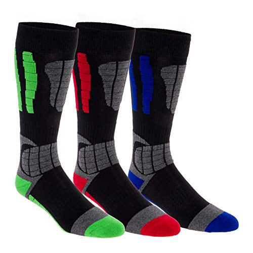 3 Pack LISH Men's Ski Socks - Over the Calf Thermal Snow Socks for Snowboarding and Skiing (Multi, L/XL)