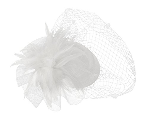 Ahugehome Fascinator Hair Clip Headband Pillbox Hat Flower Wedding Cocktail Tea Party (B White) by Ahugehome