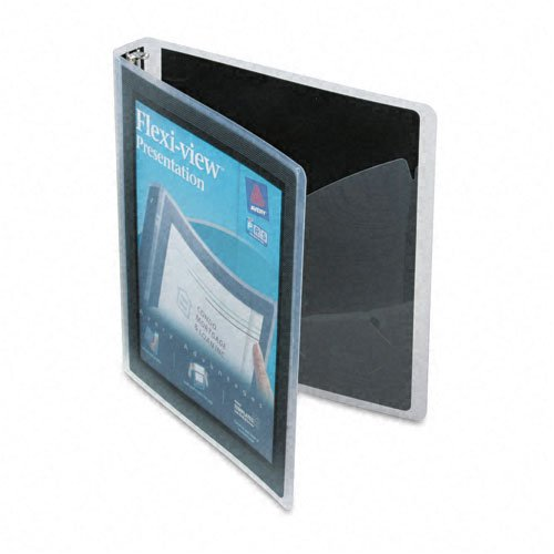 Avery : Flexi-View Round-Ring Presentation View Binder, 1in Capacity, Black -:- Sold as 2 Packs of - 1 - / - Total of 2 Each