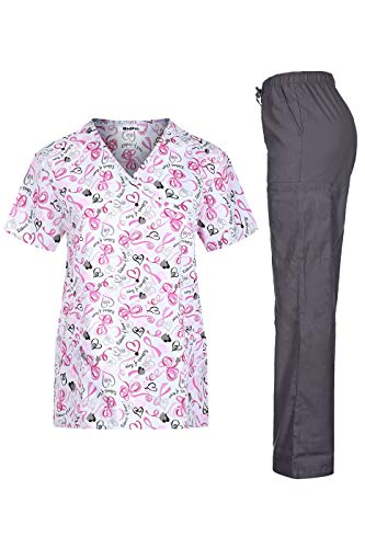 MEDPRO Women's Printed Medical Scrub Set Mock Wrap Top and Pants Light Pink Gray L