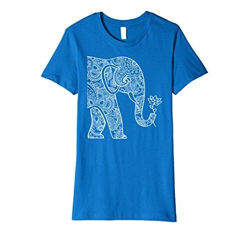 Womens Elephant Holding Lotus T-Shirt Medium Royal (Lotus Elephant)