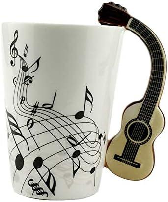 NHUAIYINSHUGUOGUANGGAOJINGY Arte de la Novedad Taza de cerámica Taza Instrumento Musical Estilo de Nota Taza de Leche de café Oficina en el hogar Drinkware-Guitarra de Cuerpo Blanco Guitarra