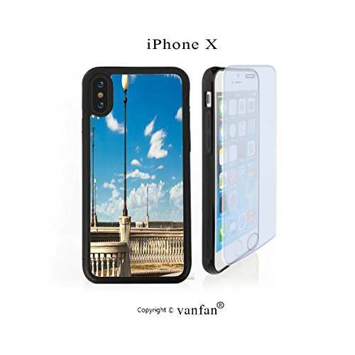 iPhone X Case, vanfan iphone X/10 Case-errace Street Promenade of Livorno Tuscany Print Sk(black) Design Hard PC Back Protective Cover Skin Case For Apple iphone X-iPhone X Screen Protector - Promenade Street