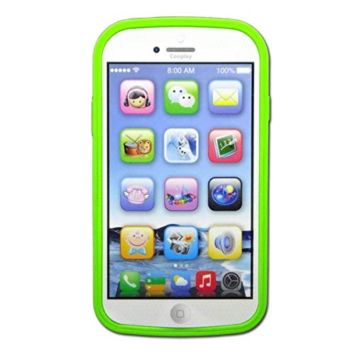 Cooplay Toddler Phone Toy Learning English Music Piano Sound Ringtone Lighting Educational Gift Like yphone 8 for Baby Kids Children (Green)