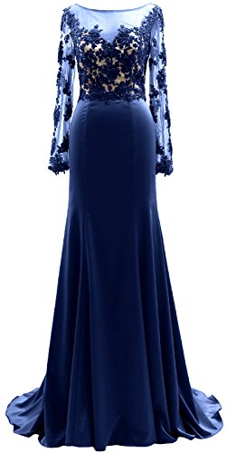 Mother Illusion Women Long of Dress Lace the Royal Blue Gown Evening Bride MACloth Sleeves RIBnw