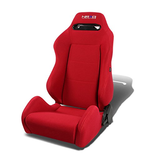 NRG RSC-200-NRG Type-R Red Cloth Racing Seat+Adjustable Slider (Left/Driver Side Only)
