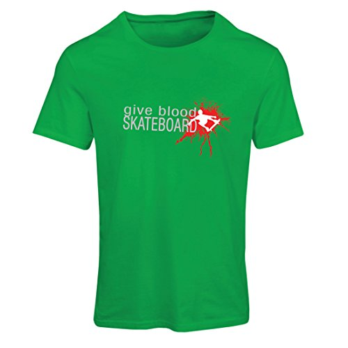 lepni.me Camiseta Mujer Give Blood Skateboard! - Citas Divertidas de Skateboard, Patinador Profesional (XX-Large Verde...