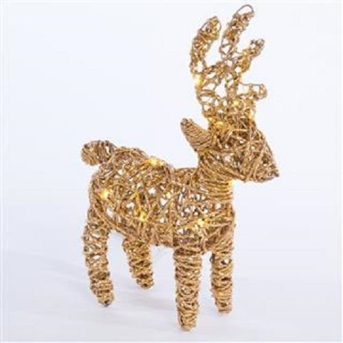 Triflora Gold Reindeer with LED lights. 25 x 9 x 35cm