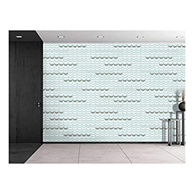 Large Wall Mural - Seamless Geometric Delicate Waves | Self-Adhesive Vinyl Wallpaper/Removable Modern Decorating Wall Art - 100