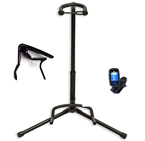 winzz black tripod vertical guitar stand with capo and digital tuner buy online in uae. Black Bedroom Furniture Sets. Home Design Ideas
