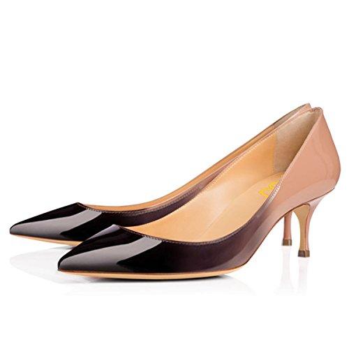 FSJ Women Classic Kitten Heels Pointy Toe Pumps Office Ladies Dress Shoes Size 7 (Pointy Toe Women Dress Pump)