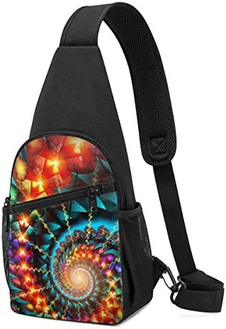 ボディ肩掛け 斜め掛け カラフルな渦 ショルダーバッグ ワンショルダーバッグ メンズ 軽量 大容量 多機能レジャーバックパック