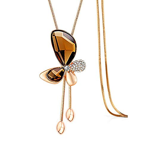 Gexo Long Chain Necklace Butterfly-Rosetone Pendant Sweater Necklace with Created Crystals Fashion Jewelry for Women (Butterfly Pendant Necklace Chain)