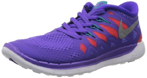 Nike Kids Free 5.0+ (GS) Prpl Vnm/Mtllc Slvr/Trb Grn/Lt Running Shoe 5.5 Kids US (6.5 M US Big Kid, Purple/Turbo Green/Crimson/Silver) For Sale