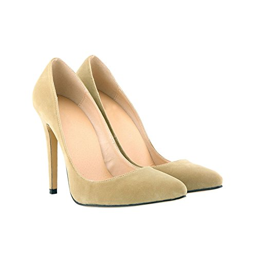 Meijunter Ladies 11CM High Heel Pointed Stiletto Suede Leather Classic Pumps Shoes jFMpaGpcLn