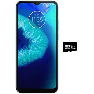 "Moto G8 Power Lite (64GB,4GB) 6.5"", 5000 mAh Battery, Dual SIM GSM Unlocked, Global 4G LTE International Model (T-Mobile, AT&T, Metro, Cricket) XT2055-2 (64GB SD + Case Bundle, Turquoise)"
