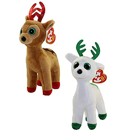 ty beanie babies tinsel peppermint the christmas reindeer set of 2 e2b christmas - Christmas Reindeer 2