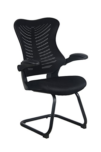 Office Factor Reception Guest Chairs with Flip Up Arms Comfortable Mesh, Ergonomic Contour, Flippable Armrests Modern Convertible Furniture for Visitors, Meeting Groups Black