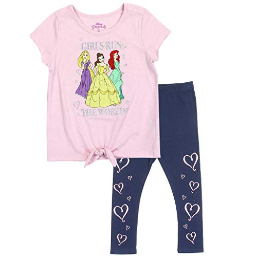 - Disney Princess Little Girls' Tie Front Top and Leggings Set (4) Pink